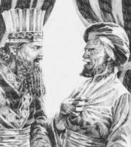 Angry master with a servant; illustration by Ken Tunell