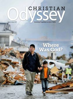 Cover of the April-May Christian Odyssey, showing a man and son walking through rubble in Japan