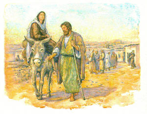Mary on a donkey, being led by 