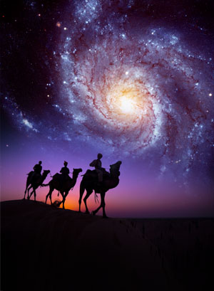 Three men on camels, with a large galaxy in the background
