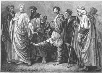 woman touching Jesus