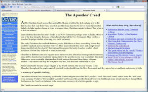 Web page showing article on The Apostles Creed