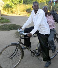 two men on a bicycle