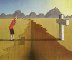Woman considering whether she can cross the chasm on the cross