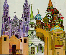 collage of church steeples. artwork by Ken Tunell