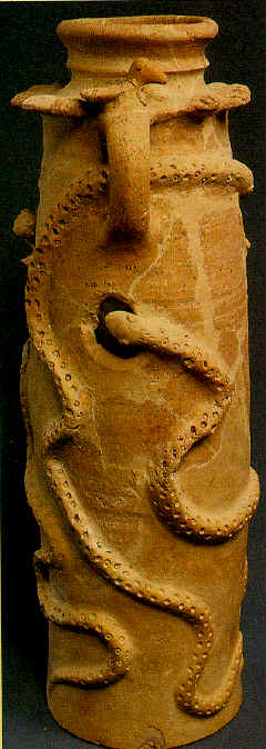 Clay jar with snakes