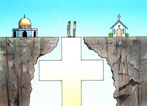 a cross bridging the gap between Muslims and Christians