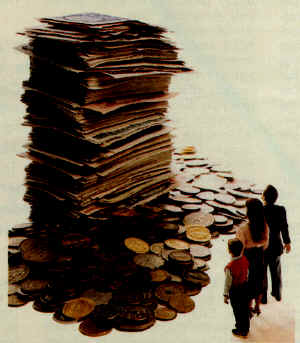 A family looking at a giant stack of money