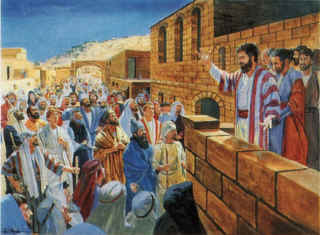 Peter preaching; painting by C. Winston Taylor