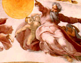 The creation of planets, by Michaelangelo in the Sistine Chapel