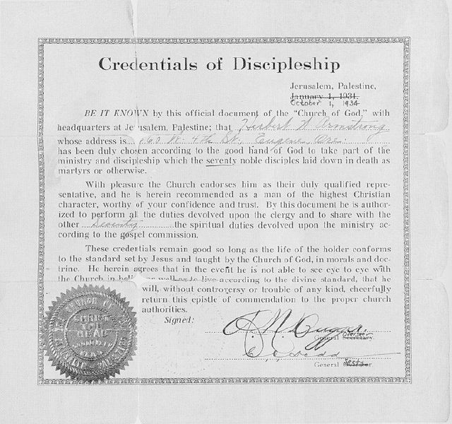 Ministerial certificate issued in 1934 to Herbert Armstrong by Church of God, Seventh Day leaders A.N. Dugger and C.O. Dodd